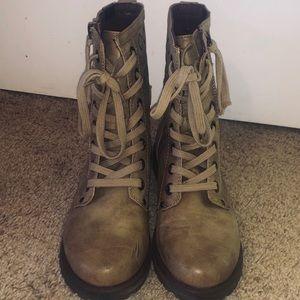 Tan-nude-beige combat boots
